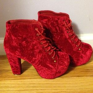 Jeffery Campbell Red Velvet Lita Boots
