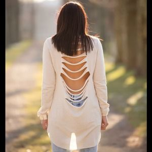 Sweaters - Cut back sweat shirt & embellished neckline S