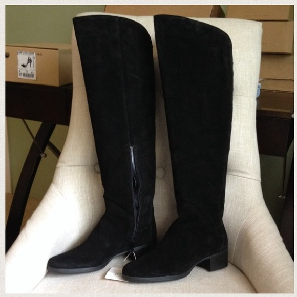 zara zara flat suede and leather knee high boot from