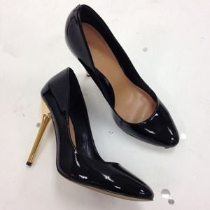 Patent Stilettos with Gold Heel