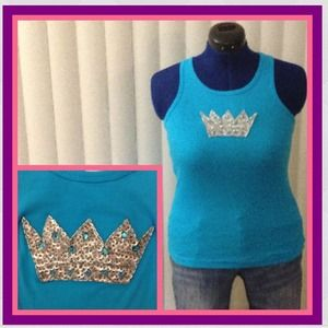Anchor Blue Tops - Embellished blue and silver ribbed tank top