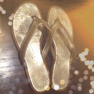 Coach Shoes - Authentic Coach Metallic Gold Leather Sandals!