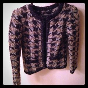 Mango houndstooth sweater cardigan. Metallic.