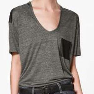 Zara vegan leather detail tee