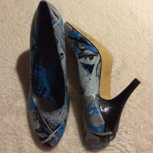 Iron Fist Blue Black & White Comic Print Heels 9