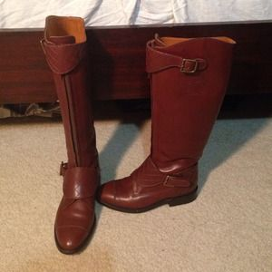 Tall brown coco Chanel riding boots