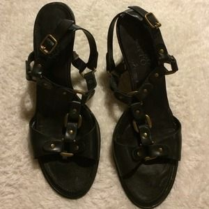 Black & Gold Strappy 6.5 Franco Sarto Heels