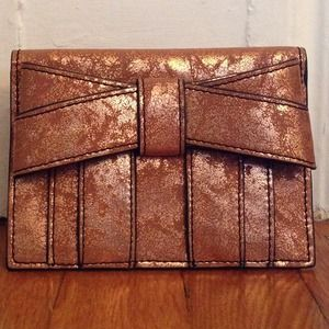 Zac Posen Handbags - HP 3/23/14 Zac Posen lrg. bow gold crackled wallet