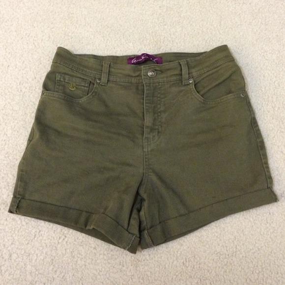 Gloria Vanderbilt Pants - Olive Green High Waisted Shorts