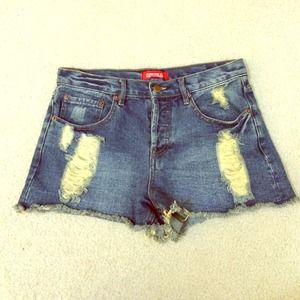 Forever 21 Pants - High Waisted Ripped Denim Shorts