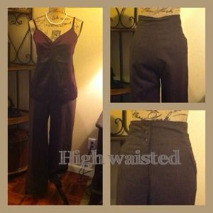Chocolate brown wool high waisted dress pants
