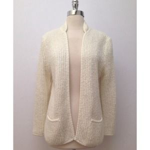 50%off Vintage | White Collarless Cardigan