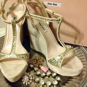 miu miu Shoes - Miu Miu Glitter Wedge Heels
