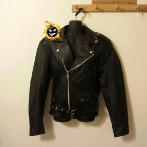 Black 100% leather biker jacket