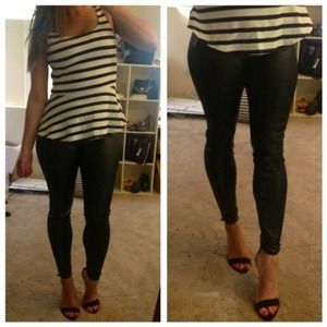"Pants - Faux Leather ""Wet Look"" High Rise Leggings"