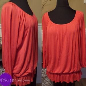 ❌BUNDLED❌Coral long sleeve knit peasant blouse