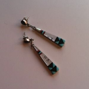 Zuni Noche Turquoise Sterling Silver Earrings