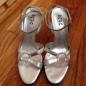 BCBG silver ankle strap heels