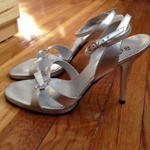 BCBG Shoes - BCBG silver ankle strap heels