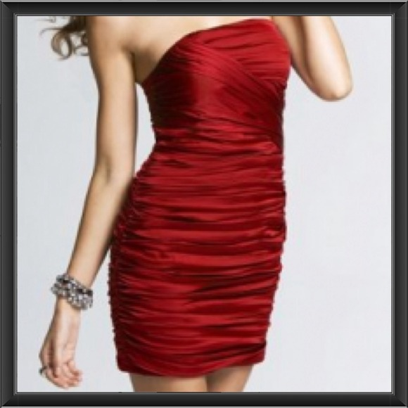 49% off Express Dresses &amp Skirts - Express Ruched Red Strapless ...