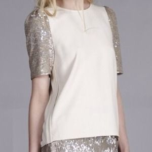 Line & Dot Tops - Brand New Line & Dot Sequin Puff Sleeve Top Small