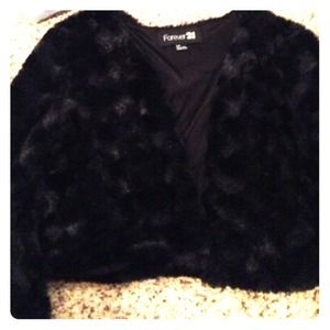 Forever 21 furry black jacket