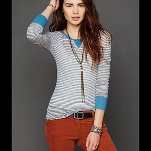 ❤️SOLD❤️Free People Striped Burnout Layering Top
