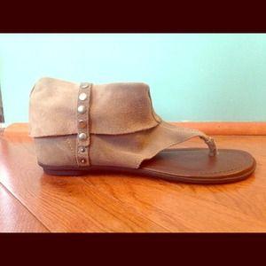 Grey suede sandals