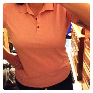 Pink Tehama Green Piping Polo Pullover Top
