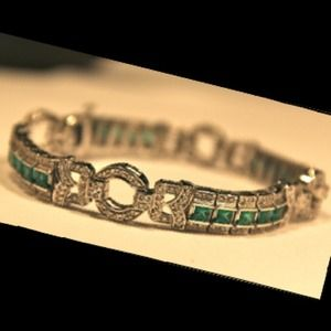 Jewelry - Platinum, Emerald, and Diamond Art Deco Bracelet