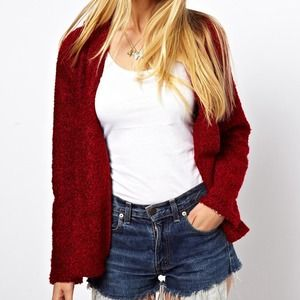 asos blazer in red texture