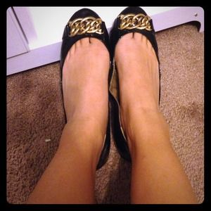 Sam Edelman black gold buckle ballet flats 8.5