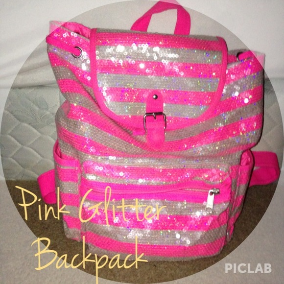 Justice Accessories Pink Glitter Backpack Poshmark