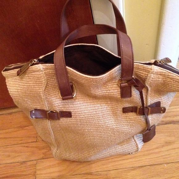 83% off Yves Saint Laurent Handbags - LG Yves Saint Laurent Raffia ...