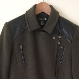 Forever 21 coat with faux leather