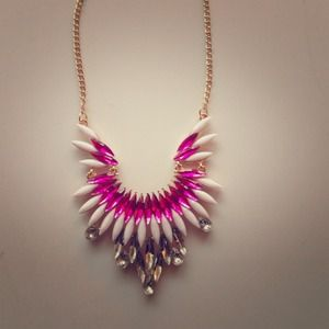 Pink & white statement necklace