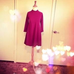 Mod Burgundy Swing Dress + Mandarin Collar