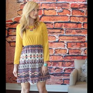 reservedNew mustard tribal print dress
