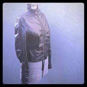 NEW SHARAGANO Black Motorcycle Leather Jacket S