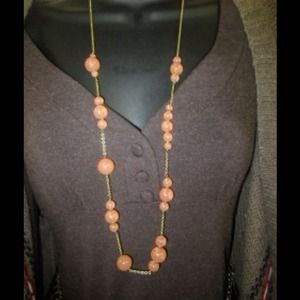 J. Crew Jewelry - NEW!   JCREW melon colored long with gold chain.