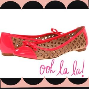 kate spade Shoes - Kate Spade flats with neon pink trim