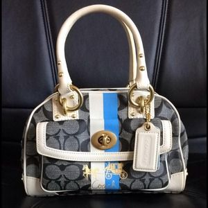 Brand New Coach Heritage Stripe Domed Satchel