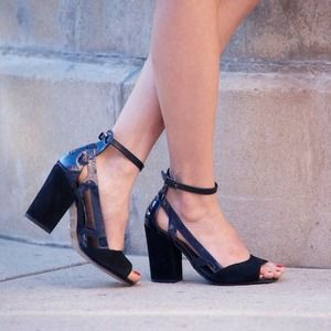 Topshop black holographic heels
