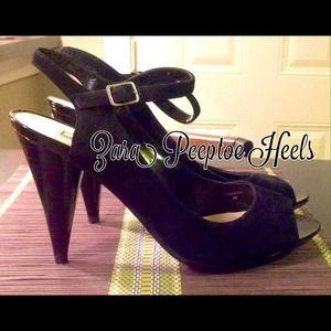 Zara Black Peeptoe Suede Heels