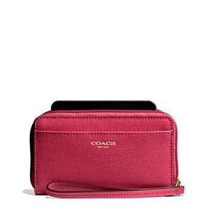 🔱Coach  Universal Saffiano  Leather Case/scarlet