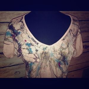 Charlotte Russe Tops - 🔹Charlotte Russe Sequined Watercolor Shirt Top🔹
