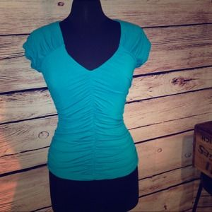 Nue Options Tops - 💙Nue Options Dark Turquoise Ruched Top Shirt💙
