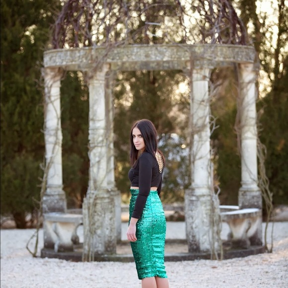 ASOS Skirts - ASOS green pencil sequins skirt 6