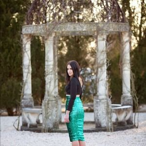 ASOS green pencil sequins skirt 6