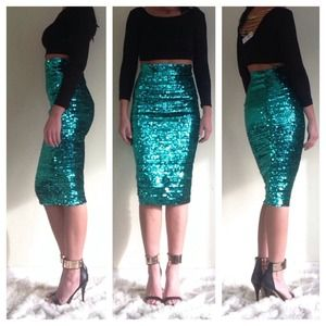 ASOS Skirts - ASOS green pencil sequins skirt 6 3